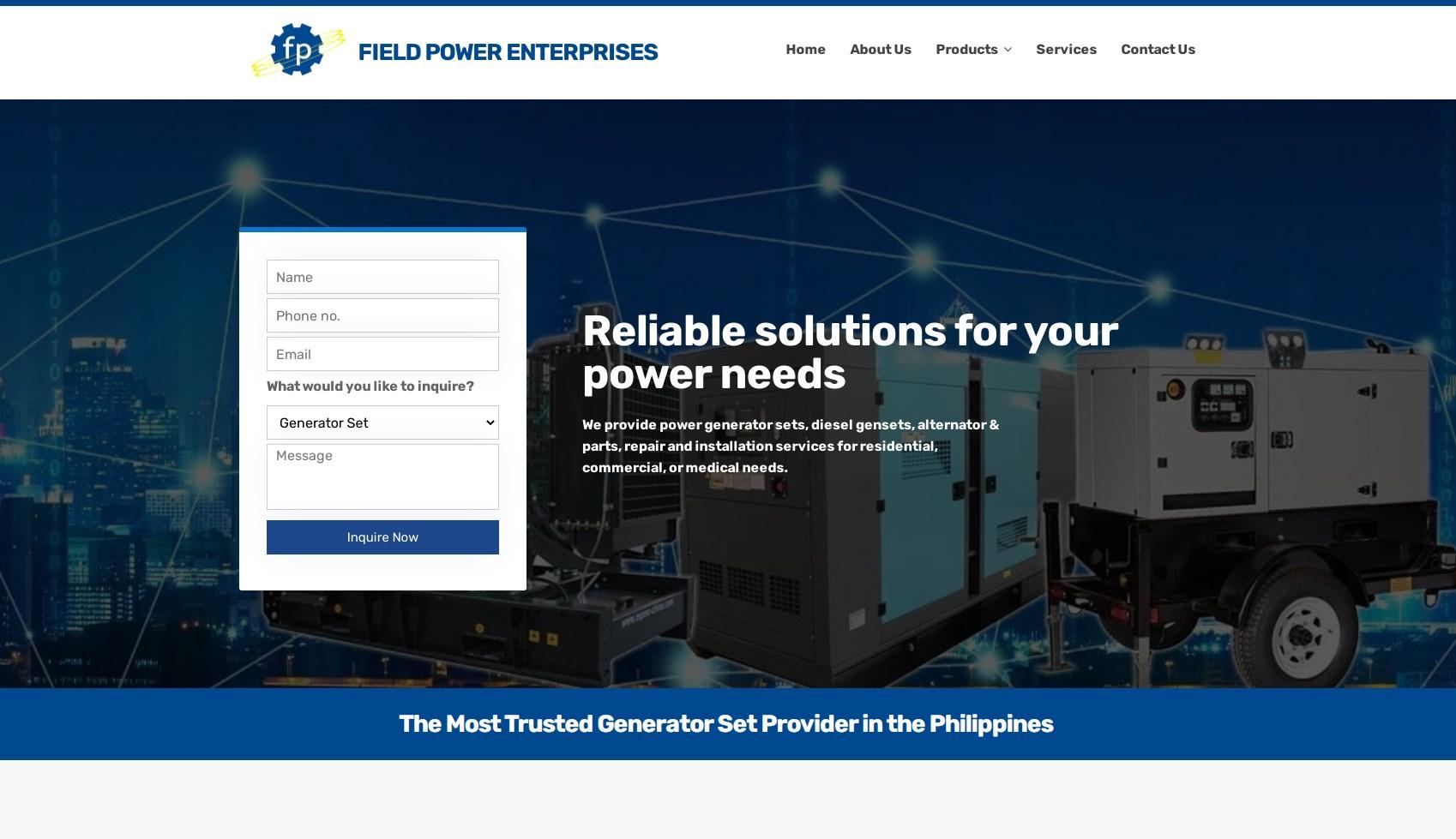 Field Power Generator Enterprises Philippines launches new website