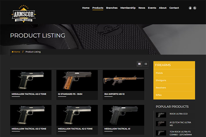 Best guns and ammo website design in the Philippines