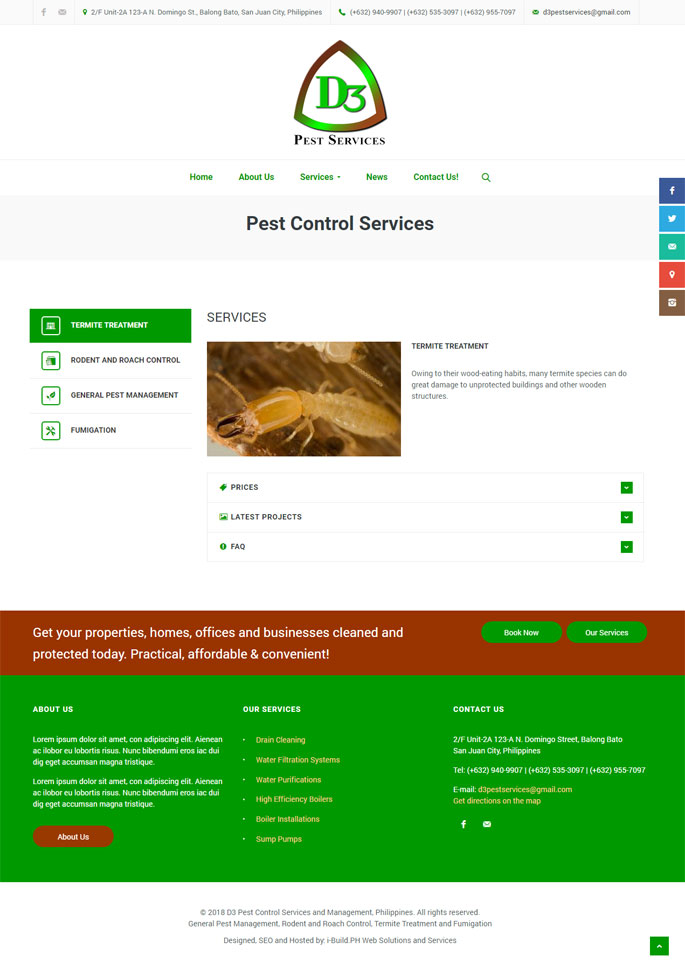 website design, webhosting and domain registry in the Philippines for pest control services