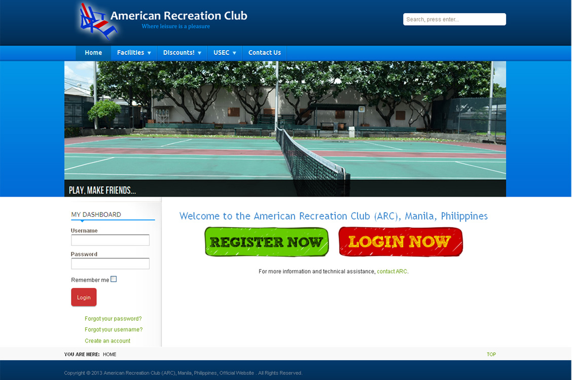Joomla website development and design for the American Recreation Club, US Embassy, Manila, Philippines with events, partners and members login and registration features