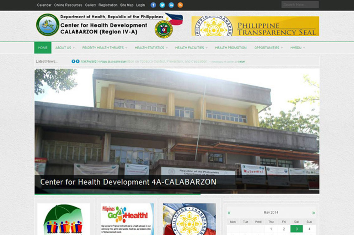 Center for Health Development IV-A, Joomla website