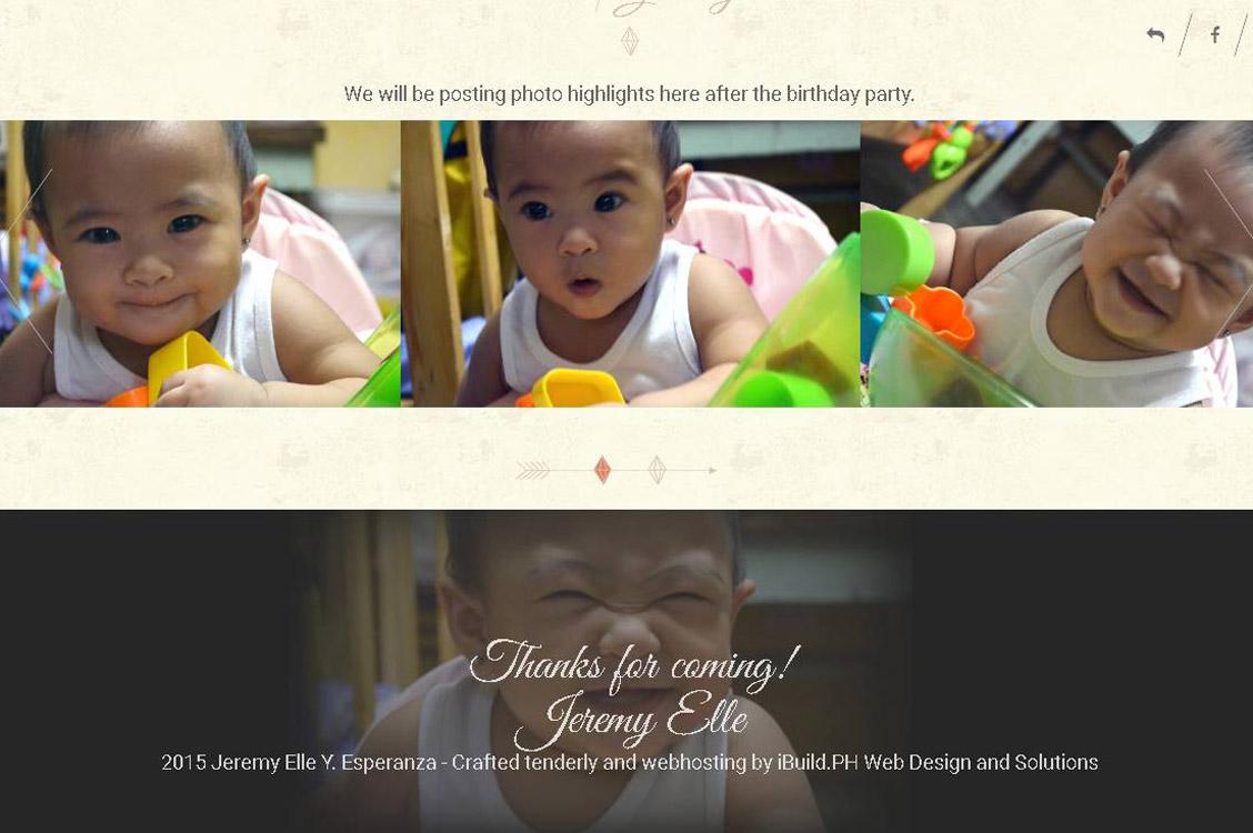 Online Birthday Invitation, Website Design