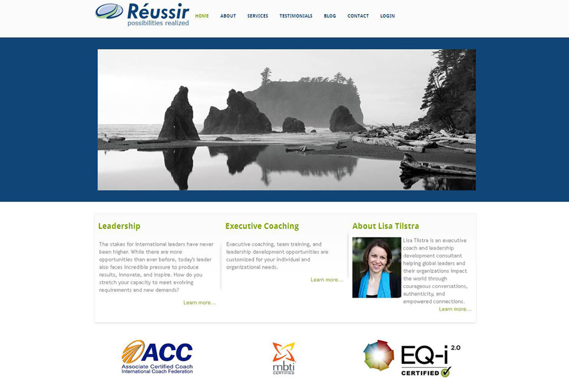 Joomla website development and design for ReussirGroup which provides executive coaching, team training, and leadership development opportunities
