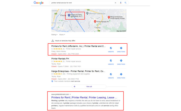 iBuild.PH SEO Philippines still dominating the search ranking for client Printers for Rent in Google Search